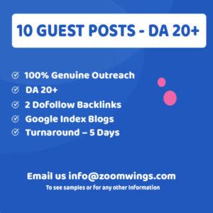 10 Guests Posts - DA 20+