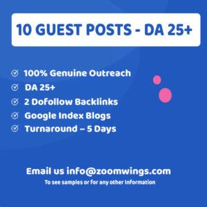 10 Guests Posts - DA 25+